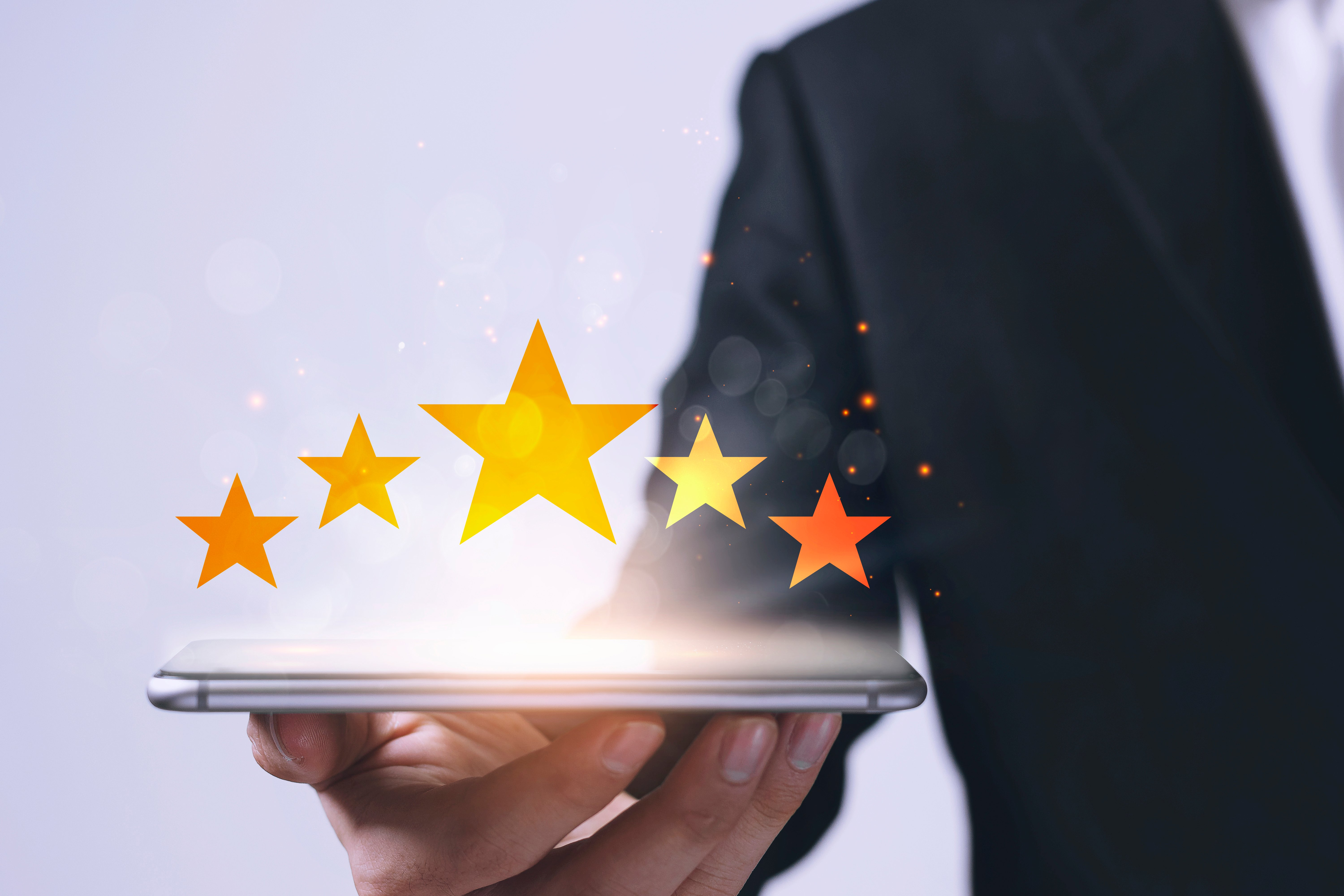 customer-satisfaction-concept-with-businessmen-give-rating-five-star-shape